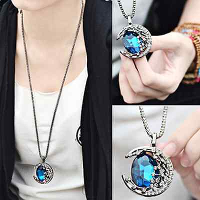 Fashion Women Jewelry Crystal Moon Retro Long Pendant Sweater Chain Necklace