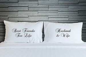 Pillowcases for Couples Best Husband /& Wife Pillow Cover Gift Set
