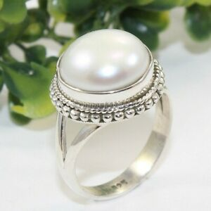 Freshwater-Pearl-Solid-925-Sterling-Silver-Ring-Jewelry-ANY-SIZE