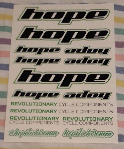 GENUINE HOPE TECH STICKER SHEET MTB GRAPHICS DECALS MOUNTAIN BIKE CYCLING ROAD