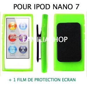 Housse-etui-coque-silicone-vert-avec-Clip-pour-iPod-Nano-7-7G-Film-protection