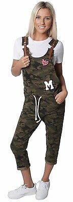WOMAN LADIES GIRLS COTTON ARMY DUNGAREES ROLL UP PATCHES POCKETS CAMOUFLAGES M L