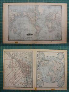 The world quebec canada vintage original 1893 columbian world atlas image is loading the world quebec canada vintage original 1893 columbian gumiabroncs Images