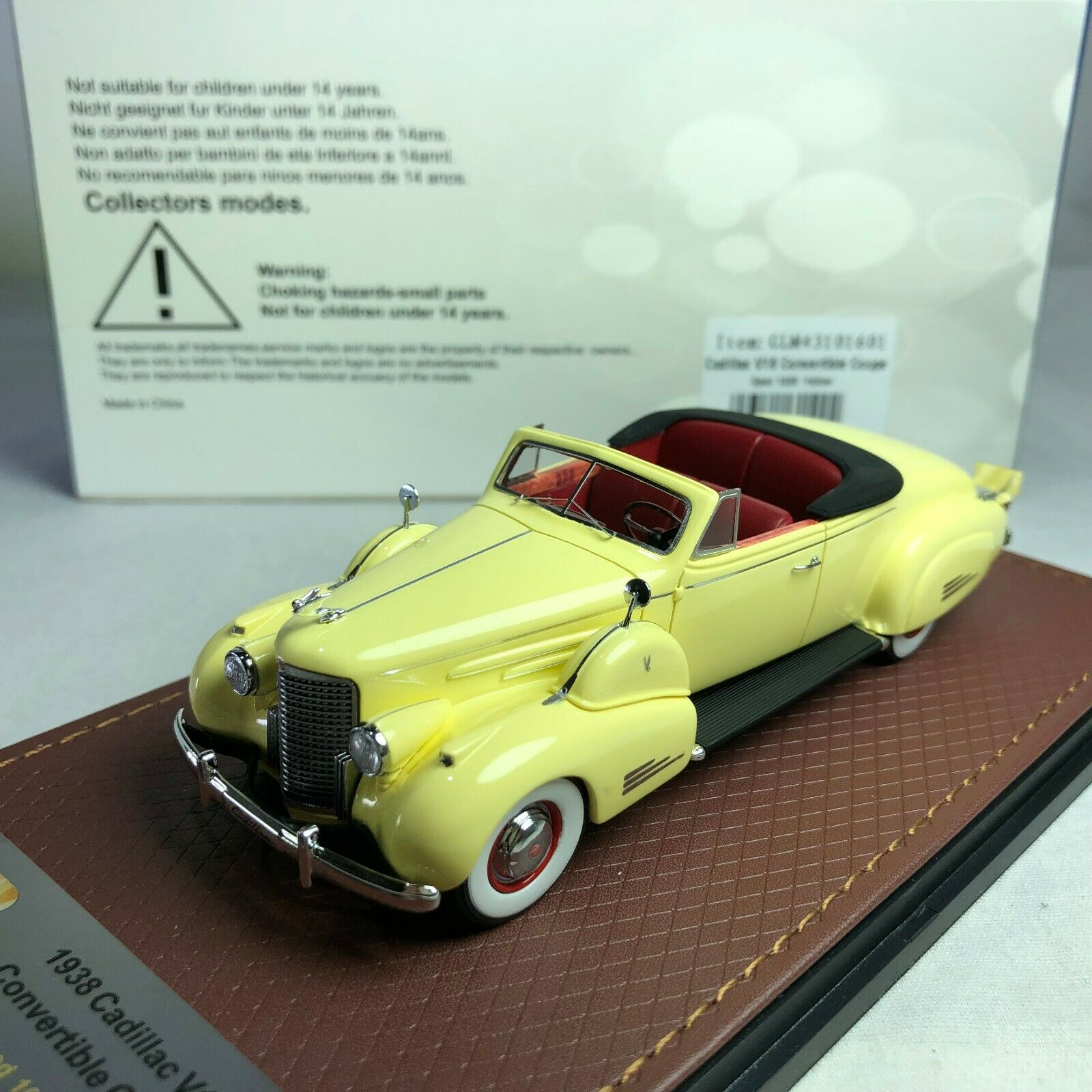 1 43 GLM Model Cadillac V16 Congreenible Coupe Open 1938 Yellow GLM43101601