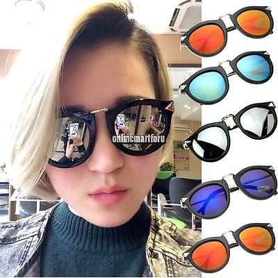 Fashion Womens Mens Unisex Vintage Retro Round Metal Frame Sunglasses Eyewear