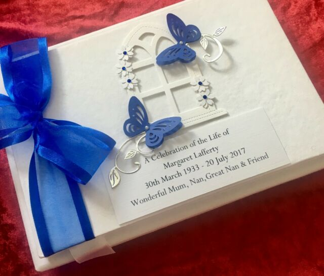 Personalised Condolence Memorial Bereavement Funeral In Loving Memory Book Boxed