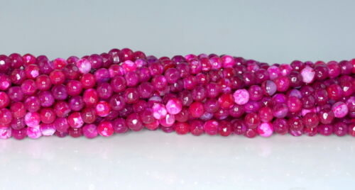 4MM  AGATE GEMSTONE PINK FACETED ROUND LOOSE BEADS 15/""