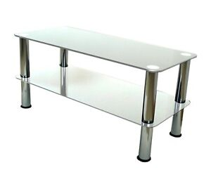 Mountright Umsct Clear Glass Chrome Coffee Side Table Glass Tv