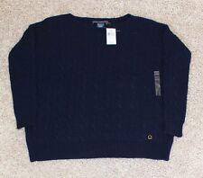 New $89 RALPH LAUREN Women's SMALL Sweater cableknit NAVY BLUE scoop neck loose