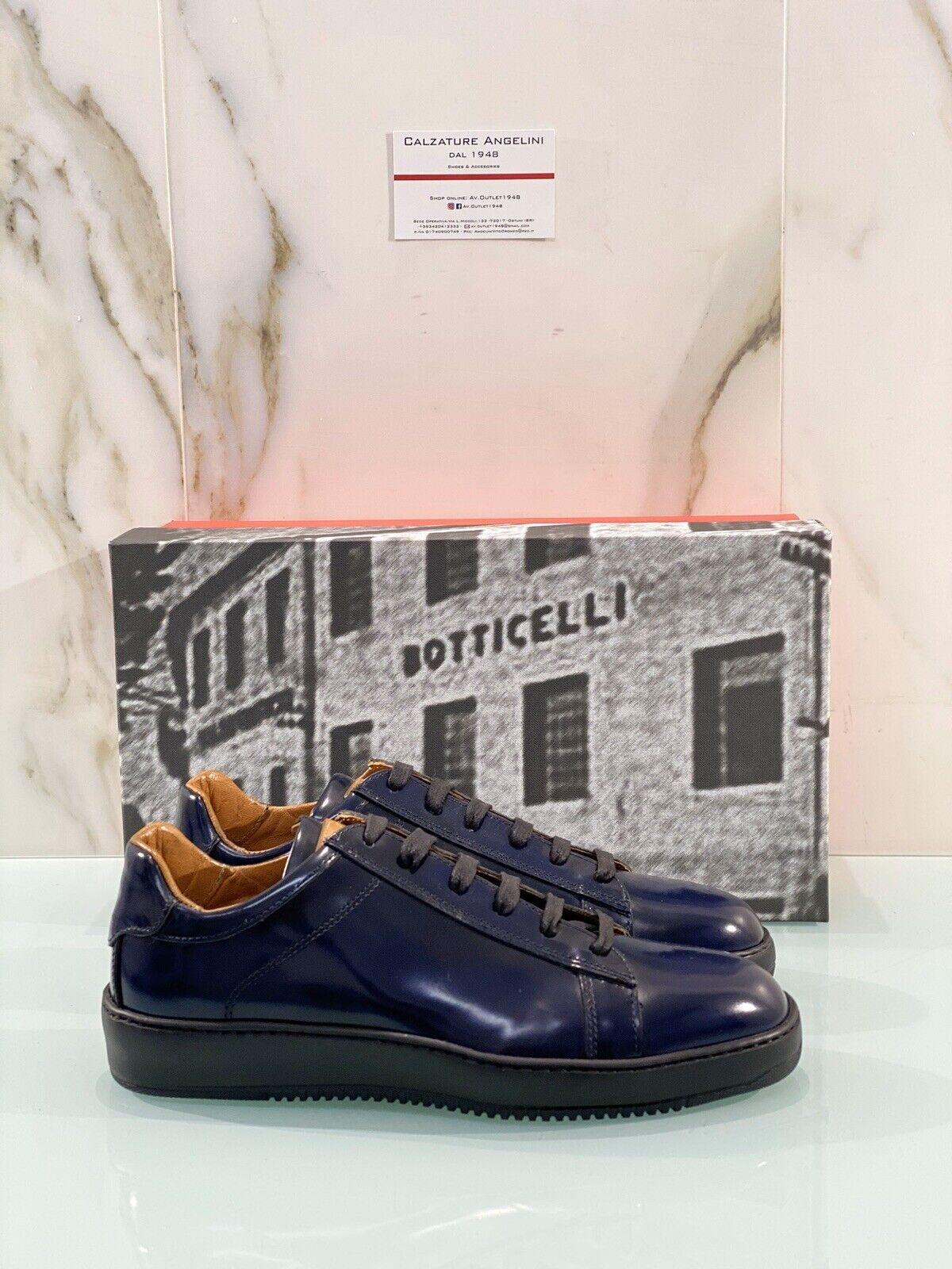 Roberto Botticelli Turnschuhe Mann 37204 in Leder Blau Polish Luxury Mann Schuh 44