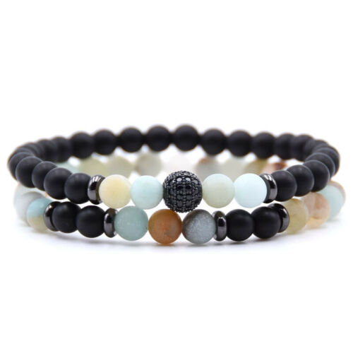 Hot 2PCS Stone Bead Crystal Balance Bracelet Hommes Bracelet Set Bijoux couples Cadeau