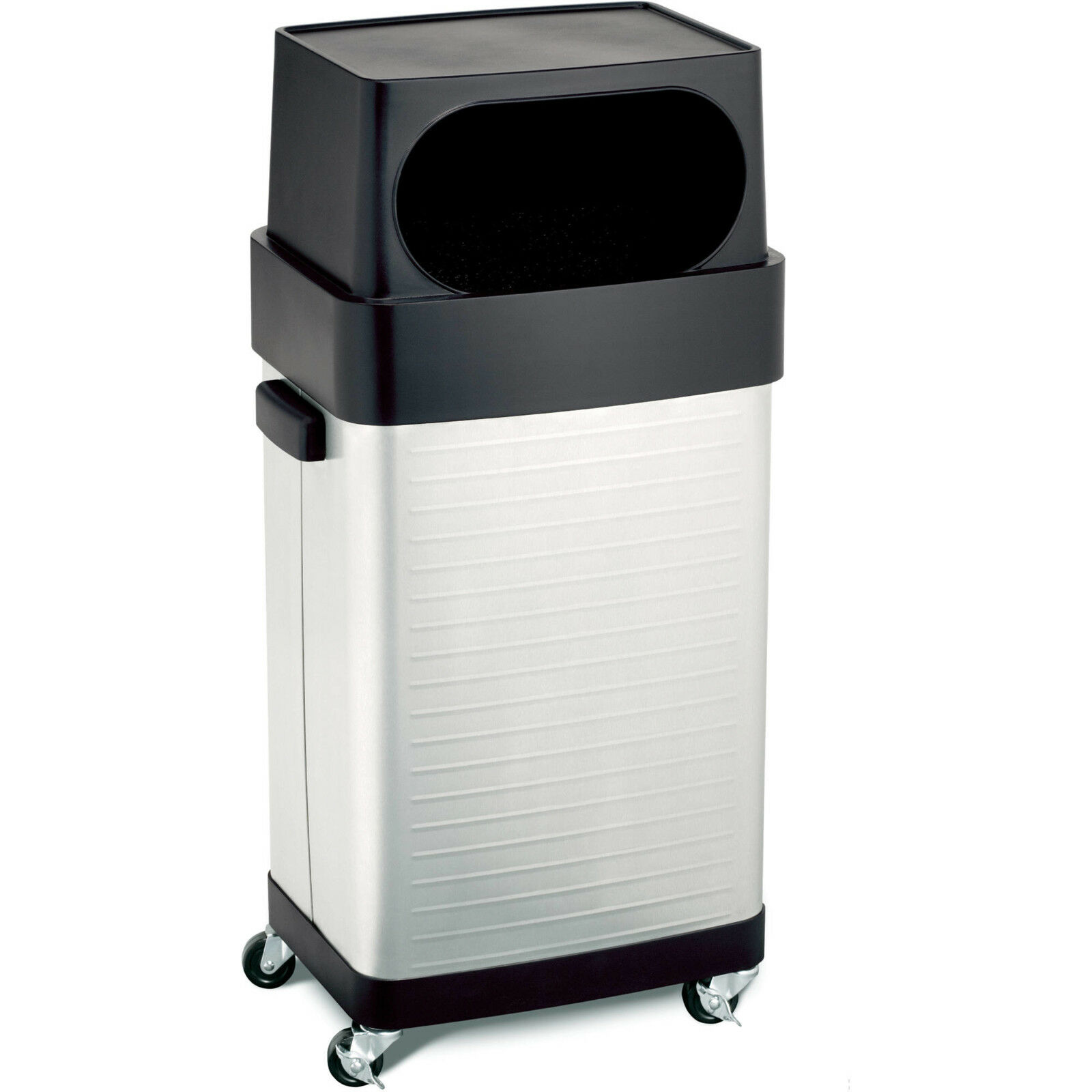 Commercial Trash Bin Wheels Stainless Steel Kitchen Waste Garbage Can 17 Gallon