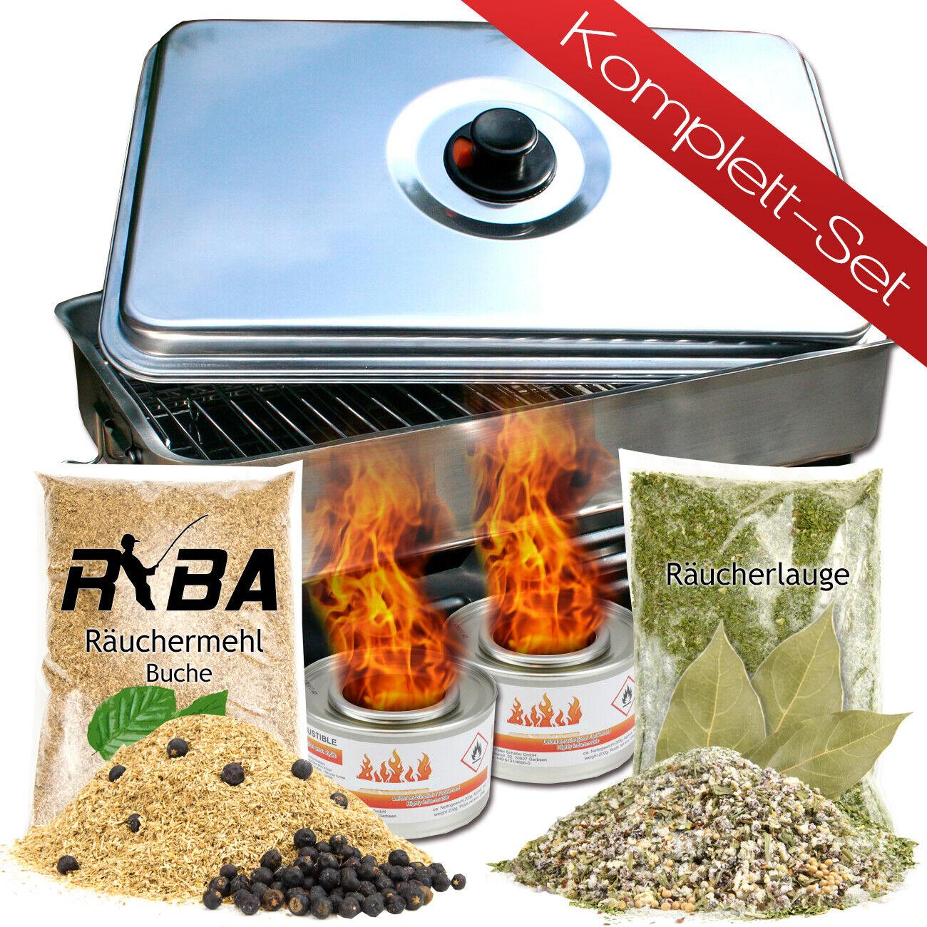 RYBA - Tischräucherofen + Brennpaste, Räuchermehl mit Wacholder, Räucherlauge