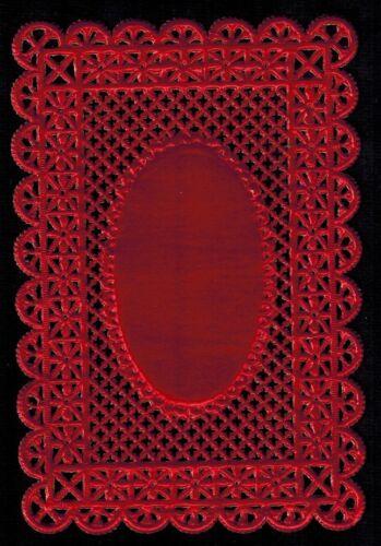 DOILEY RED FRAME LABEL PAPER LATTICE EMBOSSED DECORATIVE DRESDEN GERMANY ART