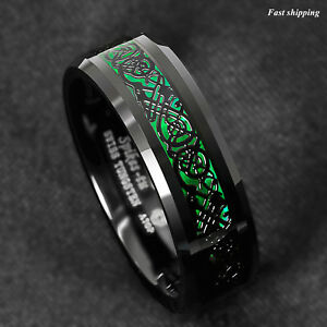 Image Is Loading 8mm Tungsten Ring Black Celtic Dragon Green Carbon