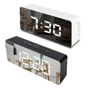 Digital LED Mirror Alarm Clock Snooze Electronic Large Time Temperature Display