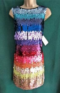 New-MONSOON-Uk10-Sequin-SONIQUE-Rainbow-Stripe-LTD-EDITION-Evening-Shift-Dress
