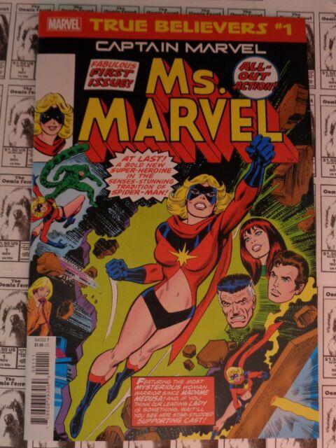 Ms. Marvel (1977) Marvel - #1, 2019 True Believers Reprint, Captain Marvel, NM