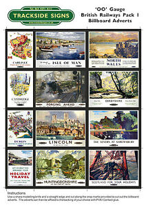 British Railways Model Railway Billboard Advert / Poster Sheets - OO Gauge 4mm