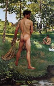 """Large oil painting gay nude male portraits bathing by river in summer canvas 36"""""""