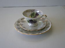 VINTAGE POLISH FLORAL GILDED PORCELAIN TEA SET / WALBRZYCH  POLAND