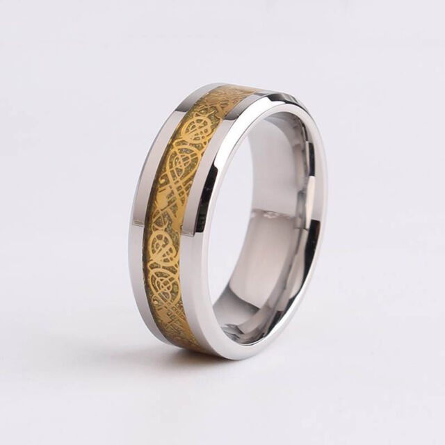 Trendy Men Dragon Scale Ring Rings Jewelry Wedding Band 18K Gold 8 9 10 11 12