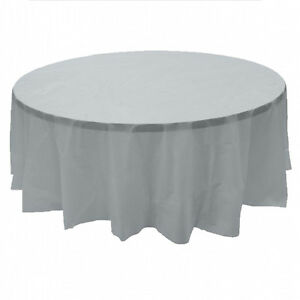 """2 Plastic Round Tablecloths 84"""" Diameter Table Cover - Silver"""