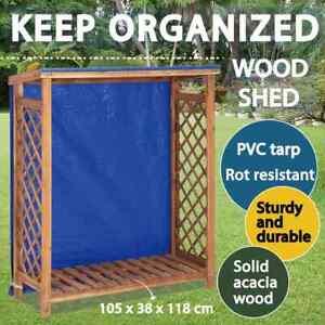 vidaXL Solid Acacia Wood Firewood Storage Shed Wood Holder Garden Shelf Stand