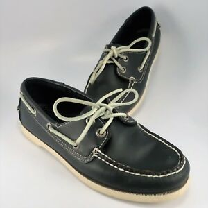 d0b29205c1d LL Bean 2-Eye Boat Shoe Womens Size 7.5M Black Leather Deck Dock ...