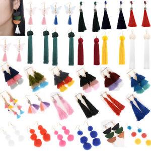 New-Gold-Plated-Charm-Bead-Tassel-Pendant-Drop-Statement-Dangle-Women-Earrings