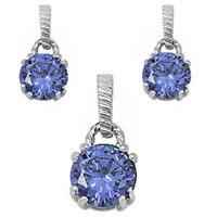 Round Tanzanite .925 Sterling Silver Earring & Pendant Gift Set on sale