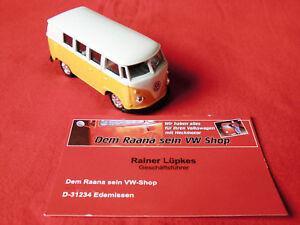 VW Bus Bulli Modellauto 7cm Oldtimer Welly 1:60 gelb-weiß (-008)