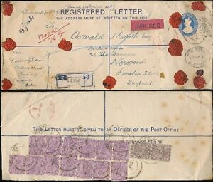 INDIA PATIALA 1927 INSURED REGISTERED STATIONERY 15 stamps UPRATING