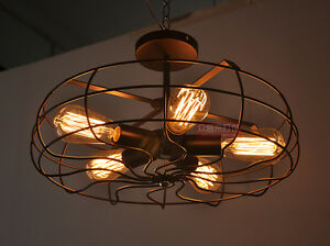 Image Is Loading Ceiling Fan Pandent Vintage Industrial Edison Lamp Bar