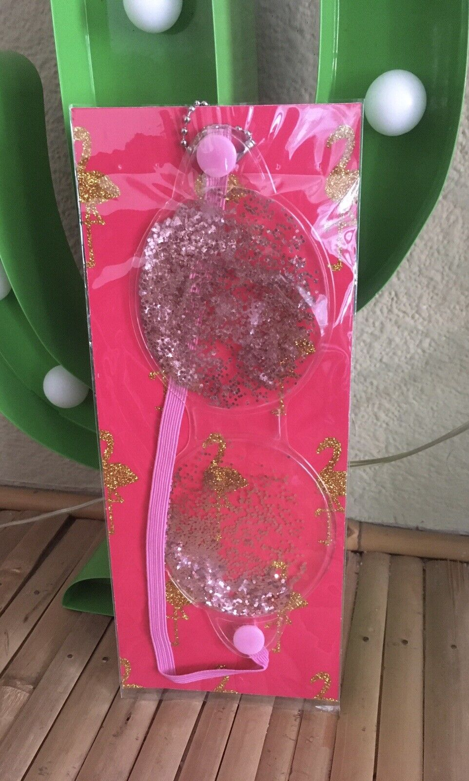 retro flamingo Glitter Gel Eye Mask +A5 Notepad Sketch Book 2 Piece Gift Set