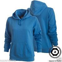 Nike Women's Hooded Top Overhead Jumper Kangaroo Hoody Black SkyBlue 361107-497
