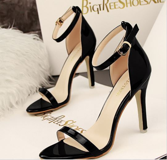 Zapatos sandalias sandalia mujer 10 cm perno tacón de aguja negro 8645