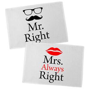 Cuscini Mr Right Mrs Always Right.Pair Of Placemats Mr Right Mrs Always Right Gift Valentine Ebay