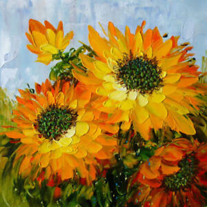 CHOP431 100/% charmed hand painted sunflower flower oil painting canvas art