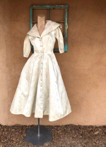 VTG 1950s Suzy Perette Silver Evening Gown Princes