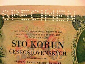 1931-Czechoslovakia-100-Korun-SPECIMEN-Gem-CU-Superb-Large-Size-Banknote-p23s