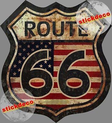 ROUTE ROAD 66 HISTORIC VINTAGE AUTOCOLLANT STICKER 12cm AUTO MOTO BIKER RA138