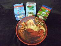 Set Of 3 Christmas Decorative Boxes 5x3 & Tin Christmas Decorative  Dish 10x1