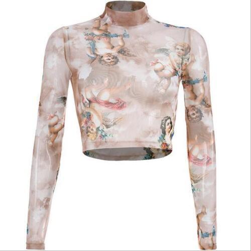 Woman Mesh Crop t-shirt Baby angel Printed Long Sleeve Mesh Crop T-shirt S-L