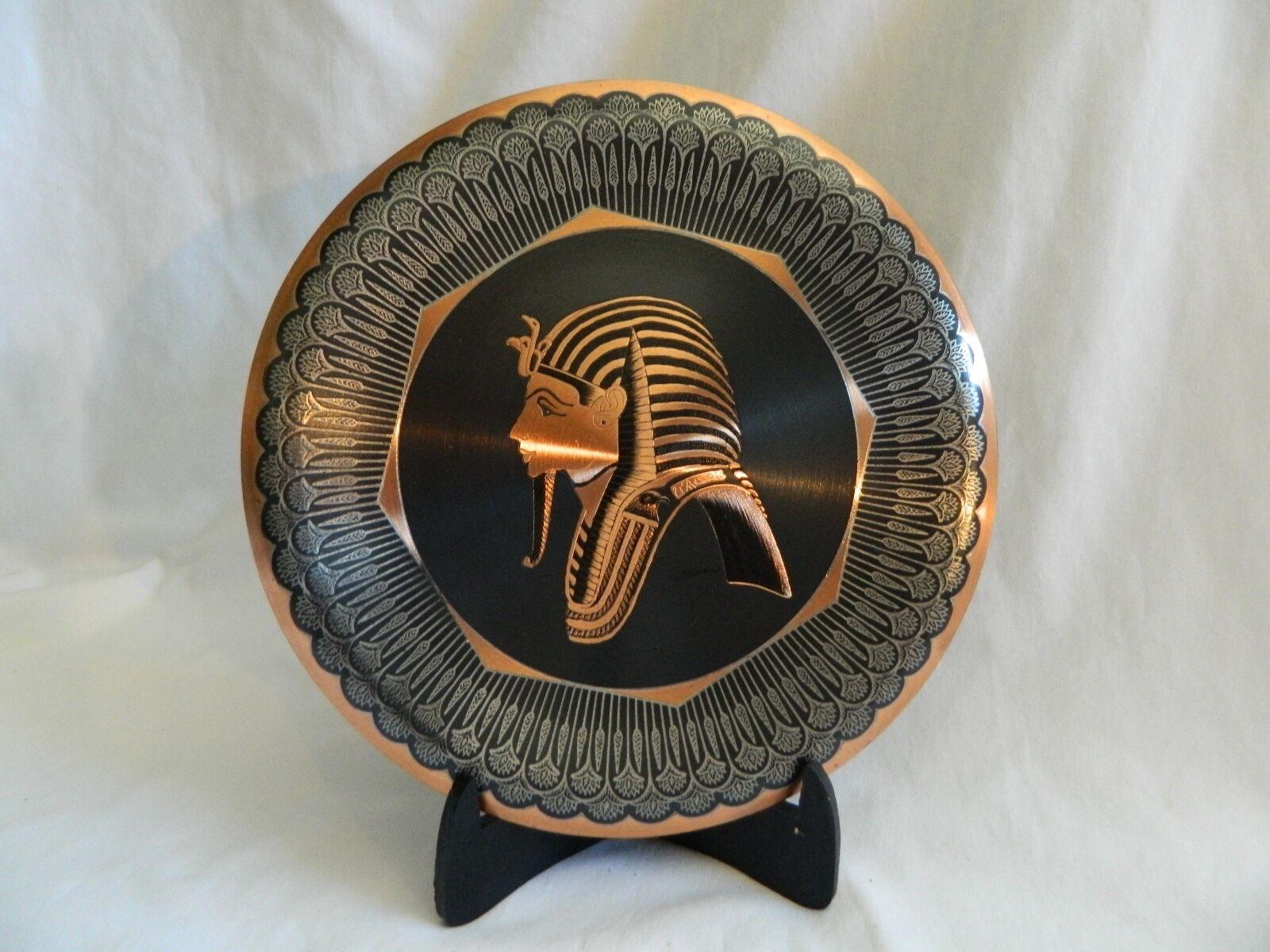 Ägyptisch Kupfer Versilbert Dekor Platte König Hochwertig 25.4cm