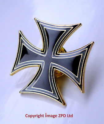 ZP214 Maltese Cross Version Iron Cross Biker Motorcycle Pin Badge German Gothic