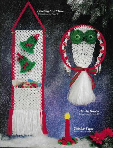 Christmas Macrame Album Vintage Pattern Book Wreath Candy Cane Ornaments Angel