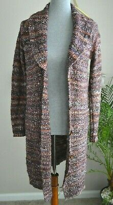 Knox Rose Sz XS Multicolor Stripe Cardigan Sweater Boho Shawl Neck Long  Button