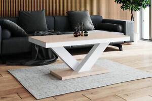 Details zu Designertisch Wohnzimmertisch VALENCIA Holz Tisch Couchtisch Luxus Holztisch