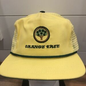 Vtg-80s-90s-Orange-Tree-trucker-hat-cap-golf-club-Made-in-USA-strapback